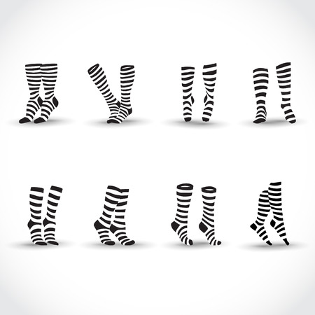 young woman legs up: Set of black black and white striped socks