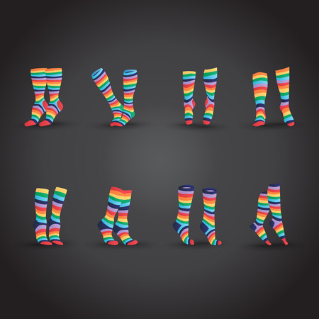 young woman legs up: Set of colorful striped socks