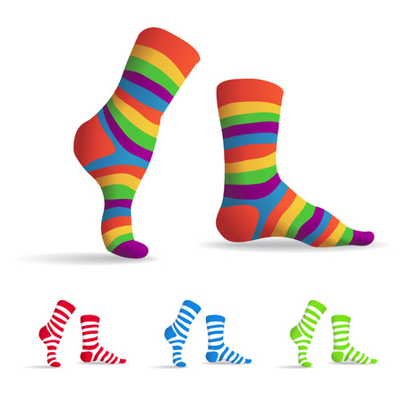 cute illustration: Set of striped multicolor socks, illustration