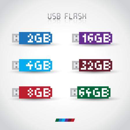 disks: Set of USB flash disks, memory stick. Various capacities