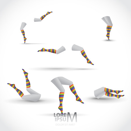 knee sock: Women legs with striped colorful socks, set of. Various moves and positions