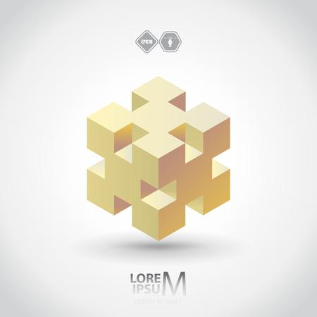 logic: Cube logo, logic icon. Vector
