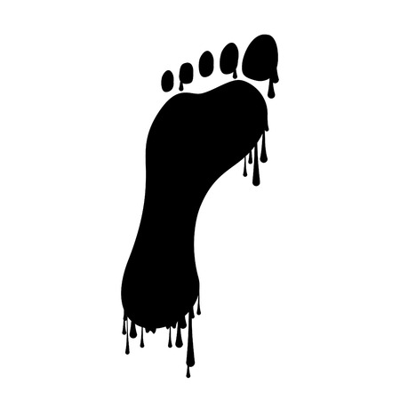and barefoot: Footprint with dripping paint, illustration Illustration