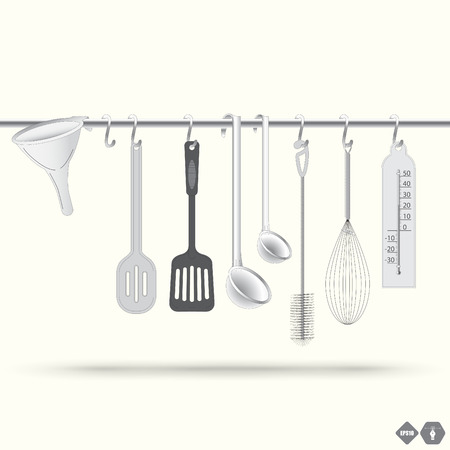 A collection of metal and plastic kitchen utensils hanging on the chromed bar. Illustration