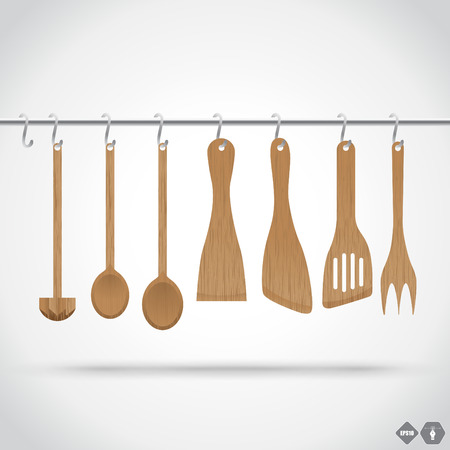 recipe book: A collection of wooden kitchen utensils hanging on the chromed bar. Illustration