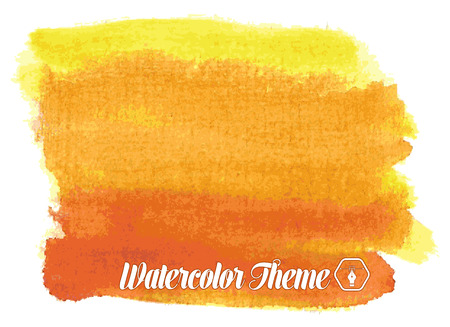 smeared hand: watercolor theme in yellow and red. vector illustration Illustration