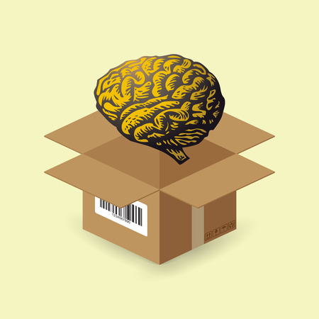 think out of box: Brain in paper box