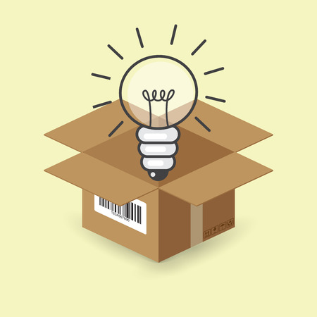 think out of box: lightbulb in the paper box, vector