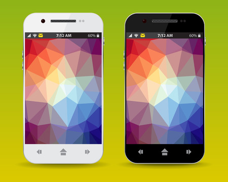 lcd: cellphone with LCD triangle background