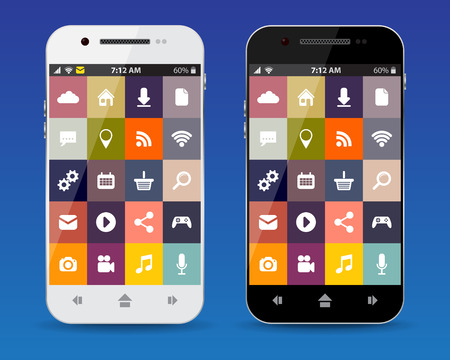 cellphones: Cellphones with flat icons Illustration