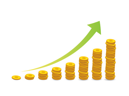 stacked coins graph arrow