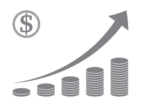 coin stack: stacked coins graph , raising arrow