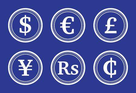 currencies: Coins various currencies, illustration