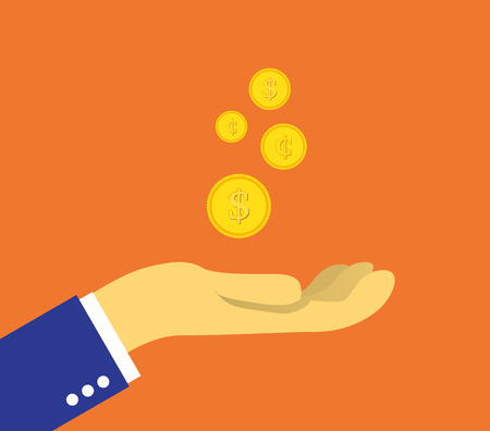 growing money: Set of coins on the palm Illustration