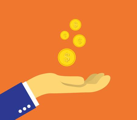 Set von Münzen auf der Handfläche