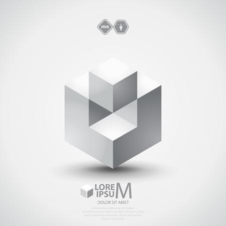 cubo: Diseño de cubo 3D. Vectores