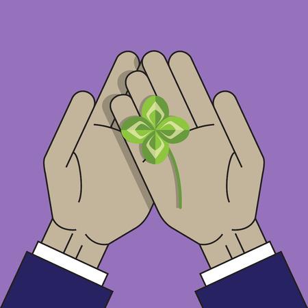 four leaf: Four leaf clover on the palm Illustration