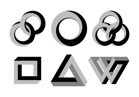looped: Impossible looped shapes,circles, square and triangles.