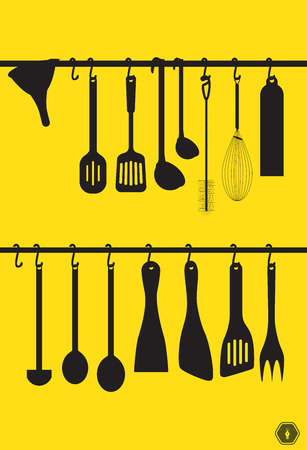 chromed: A collection kitchen utensils hanging on the chromed bar.