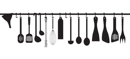 kitchen studio: A collection kitchen utensils hanging on the chromed bar. Illustration