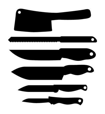 Set of kitchen knifes, vector