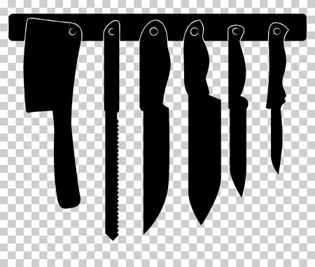 chef clipart: Set of kitchen knifes Illustration
