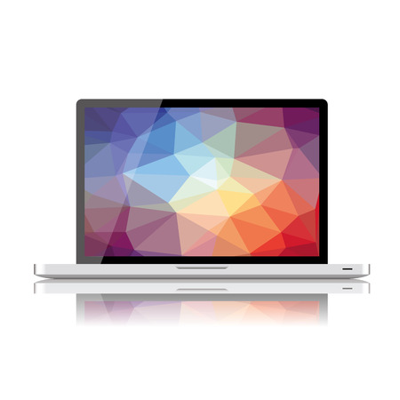 Laptop with LCD background Vector