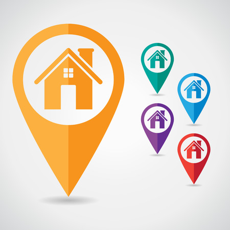 Set of map pointer with home icon
