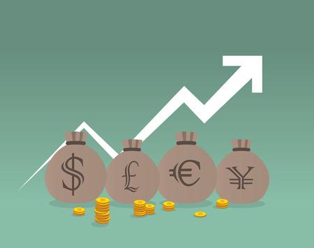 money sack: Money sack, coins and graph