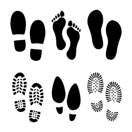 pieds sales: Réglez d'empreintes et chaussures Illustration