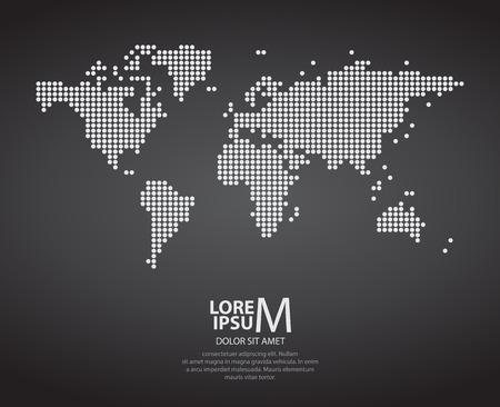 Dotted world map on dark background