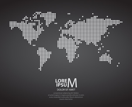 Dotted world map on dark background
