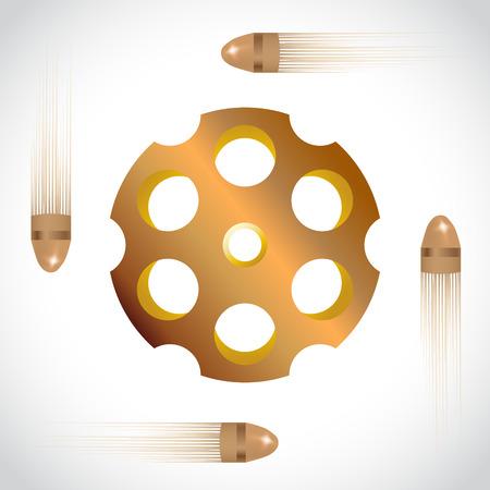 ammo: Golden revolver drum on white , vector illustration
