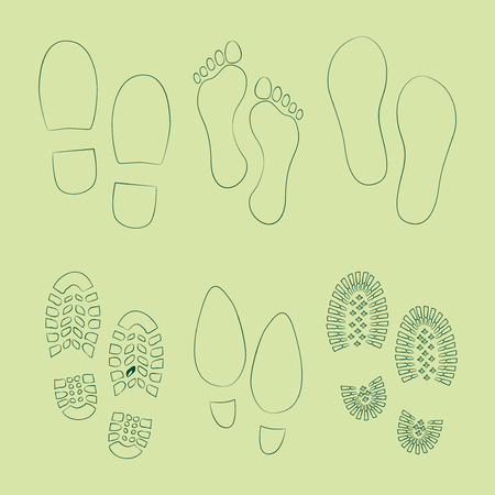 boots: Set of footprints and shoes, vector Illustration