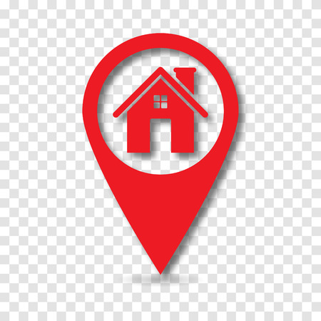 Map pointer with home icon, vector Stock Illustratie