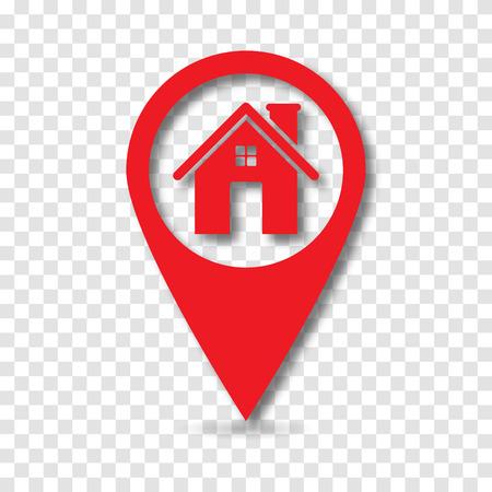 Kartenzeiger mit home Symbol, Vektor