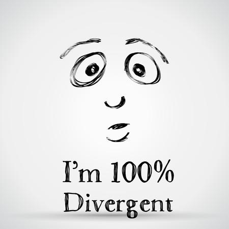 different types: One hundred percent divergent, illustration Illustration