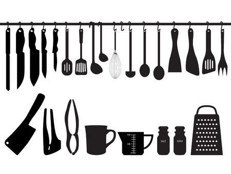 cooking book: A collection of kitchen utensils, hanging on bar and under the bar. Silhouette Illustration