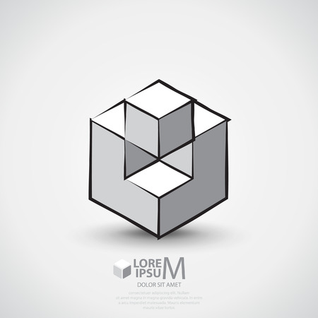 abstract business: Abstract business (corporate) outlined cube Illustration