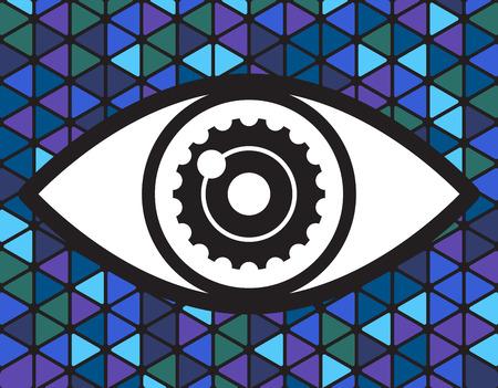 big eye: Big eye  on triangle background, illustration Illustration