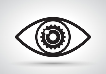 futuristic eye: Gear in eye, vector