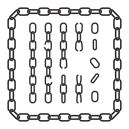metal chain: frame of the chain, silhouette illustration Illustration