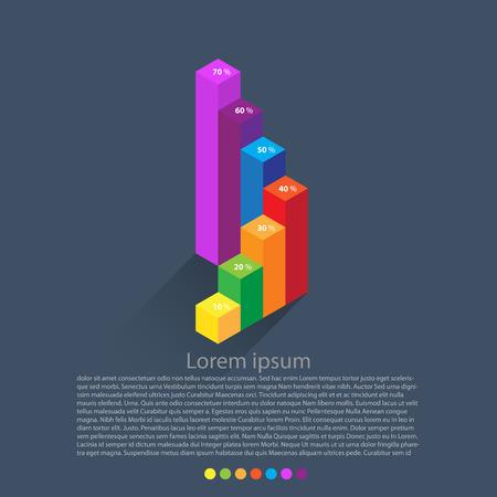 grafica de barras: diagrama isométrico, elementos del infographics. Vector Vectores