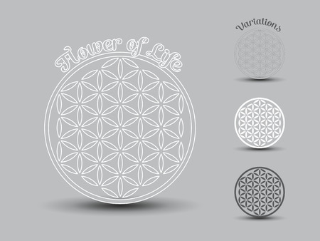 circle flower: Flower of Life symbol, set of