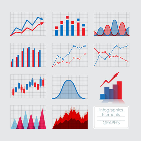 Set of charts, infographics elements. Stok Fotoğraf - 44028272