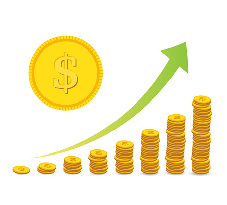 dollar coins: stacked coins graph arrow
