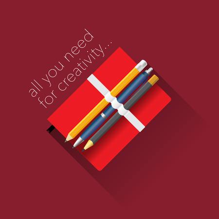 moleskin: Tools for creativity, flat design.