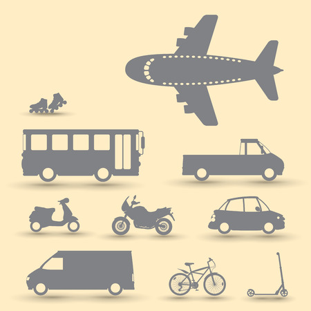 mini bike: Set of traffic vehicles, silhouette illustartion Illustration