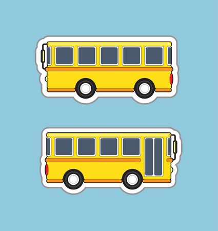 bus station: Yellow bus stickers from the sides, illustration Illustration