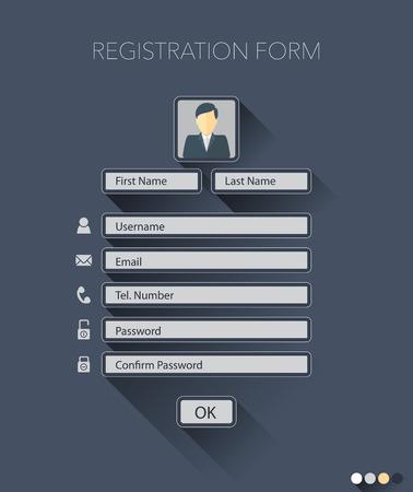 form: Web registration form, flat design. Vector